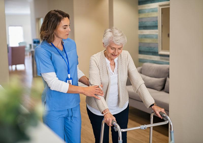 A caregiver and senior